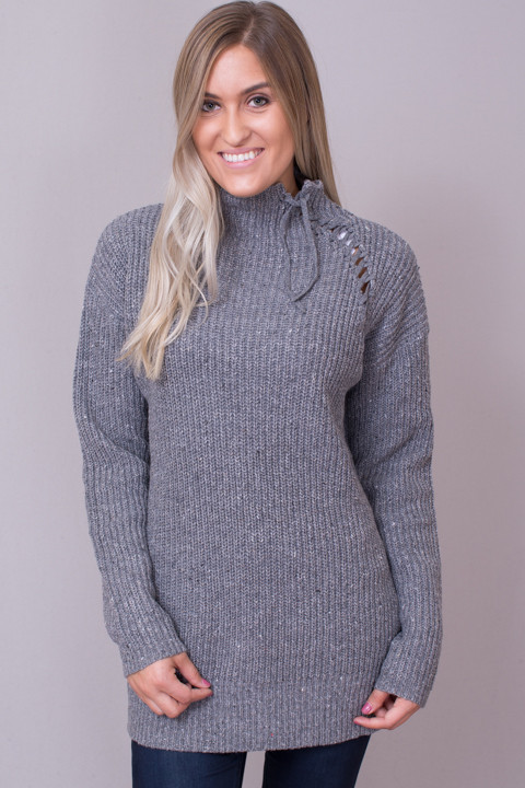8c7931689 M. Rena Mock Neck Lace Up Sweater