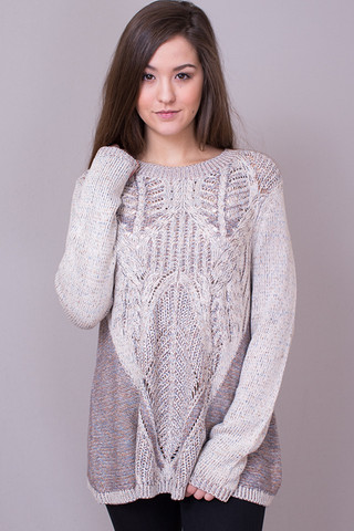 Mystree Latte Knit Sweater