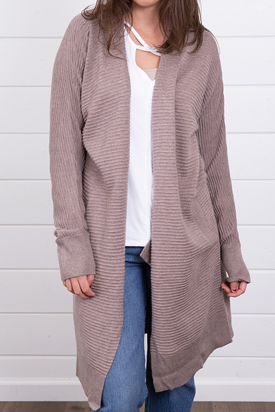 Mystree Mauve Ribbed Cardigan 2