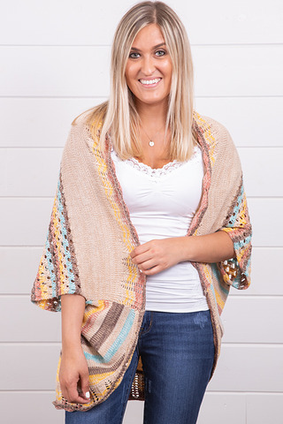 Mystree Multi Colored Shrug