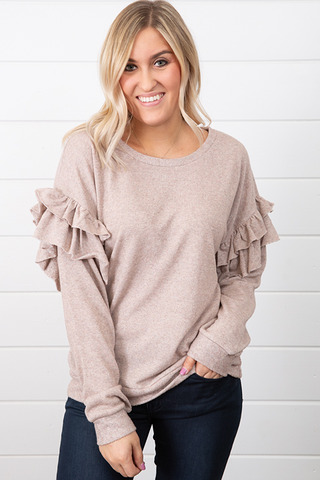 Mystree Ruffled Terry Pullover