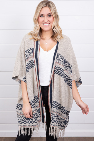 Mystree Tribal Fringe Poncho