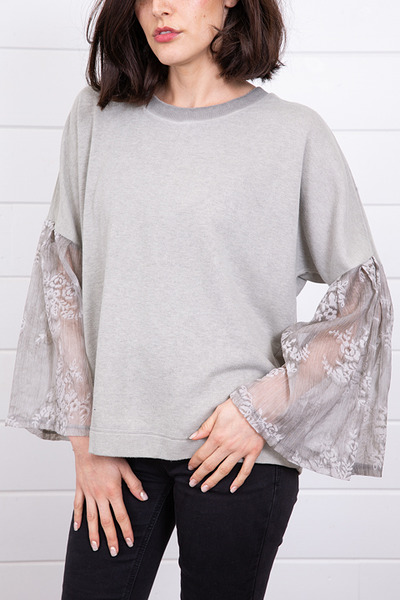 Mystree Velvet Ruffle Sleeve Sweater 4