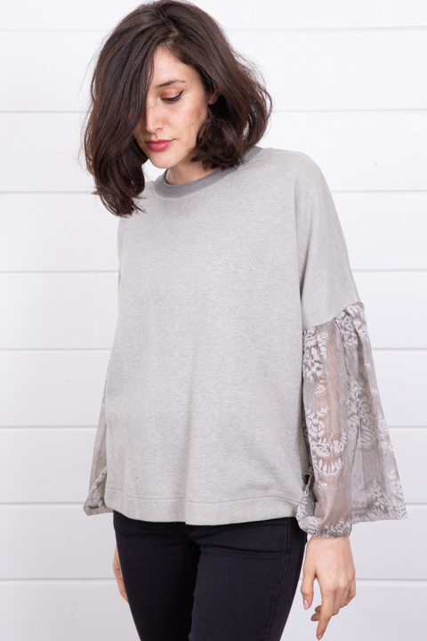 Mystree Velvet Ruffle Sleeve Sweater