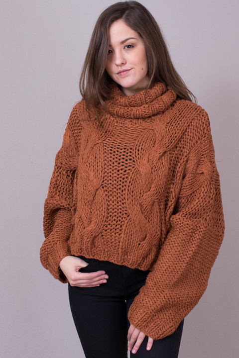 Rust Chunky Turtleneck Sweater | Sweater | POL