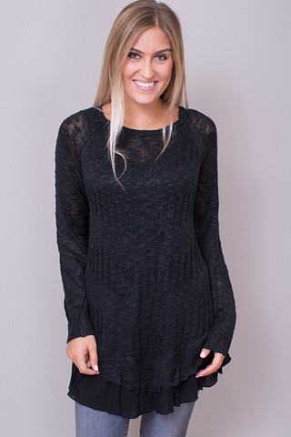 Umgee Black Textured Sweater
