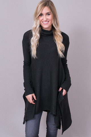 Umgee Long Sleeve Cowl Neck Sweater Ash