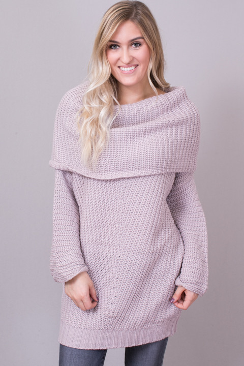 mauve ribbed fold over sweater sweater umgee. Black Bedroom Furniture Sets. Home Design Ideas