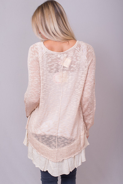 Umgee Oatmeal Layered Sweater 3