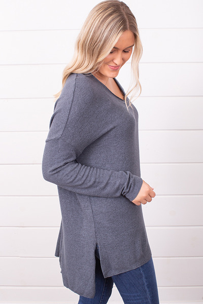 Z Supply The Marled Sweater Storm Grey 2