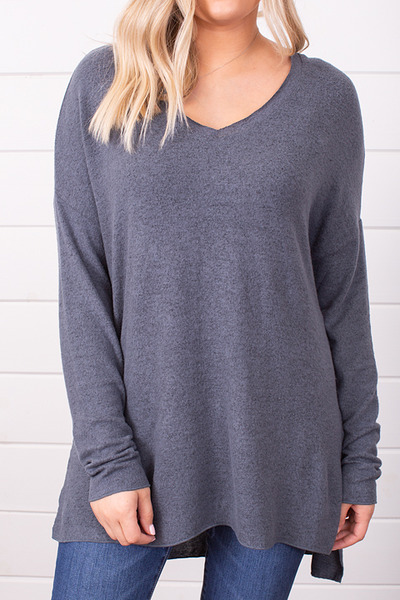 Z Supply The Marled Sweater Storm Grey 3
