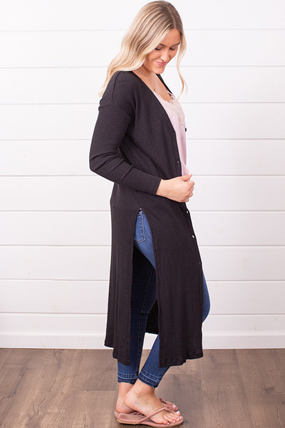 Z Supply The Textured Rib Duster Black 2
