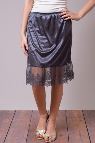 O2 Collection Charcoal Lace Slip Skirt