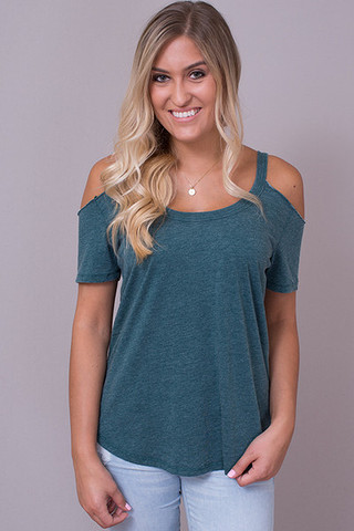 Z Supply The Cold Shoulder Tee Deep Jungle