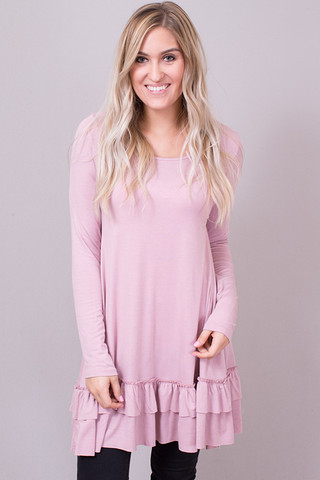 Easel Dusty Mauve Long Sleeve Ruffle Tunic