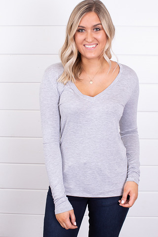 Z Supply The Fitted Long Sleeve V-Neck Tee Heather Grey