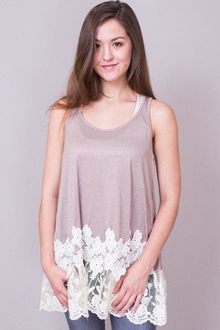 Umgee Sleeveless Floral Lace Tunic Latte