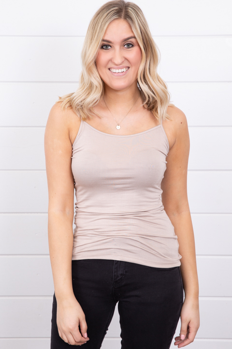 Mystree Jersey Cami Tank Taupe