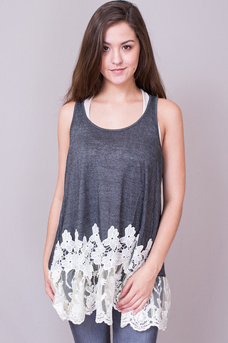 Sleeveless Floral Lace..