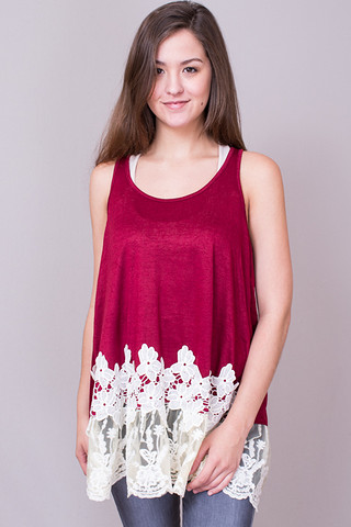 Umgee Sleeveless Floral Lace Tunic Wine