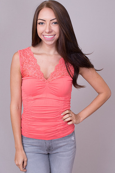 Lace V-Neck Deep Sea Coral