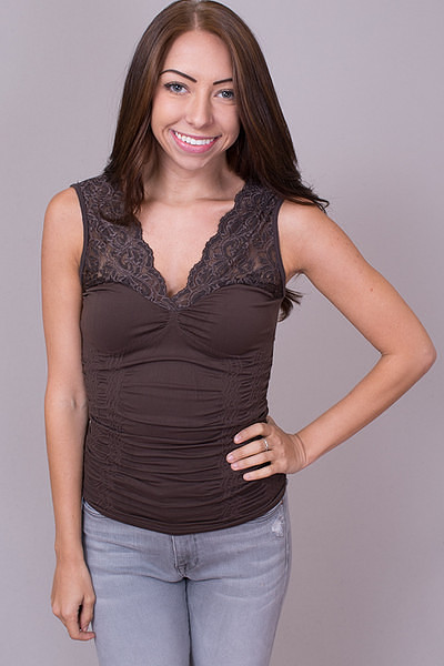 Lace V-Neck Seal Brown