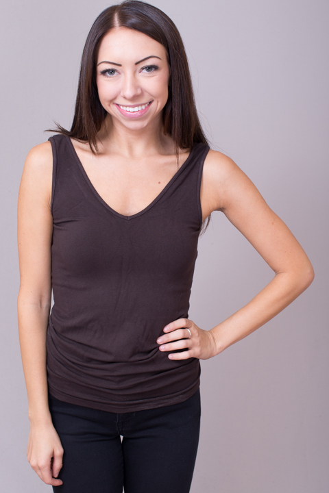 Reversible Scoop Tank Dark Brown