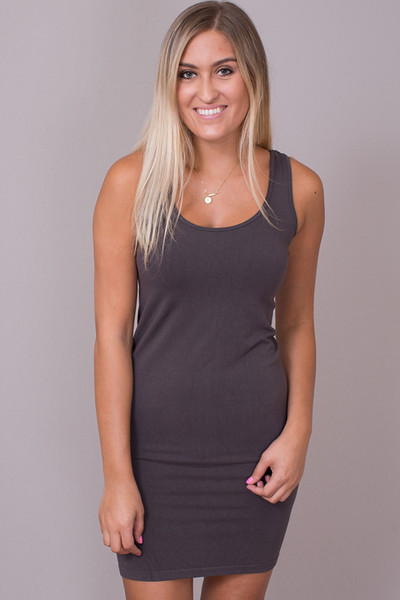 Scoop Dress Dark Grey