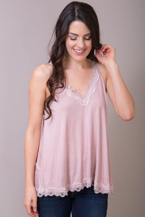 POL Pink Lace Detailed Flowy Cami
