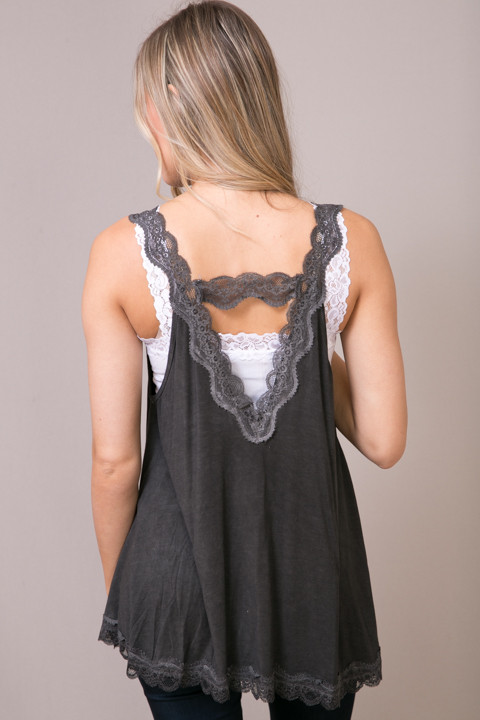 POL Black Lace Detailed Flowy Cami 3