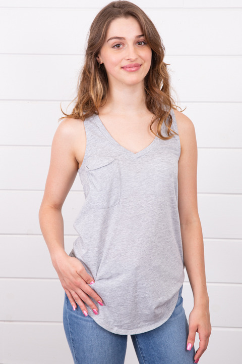 Z Supply The Pocket Racer Tank Heather Grey