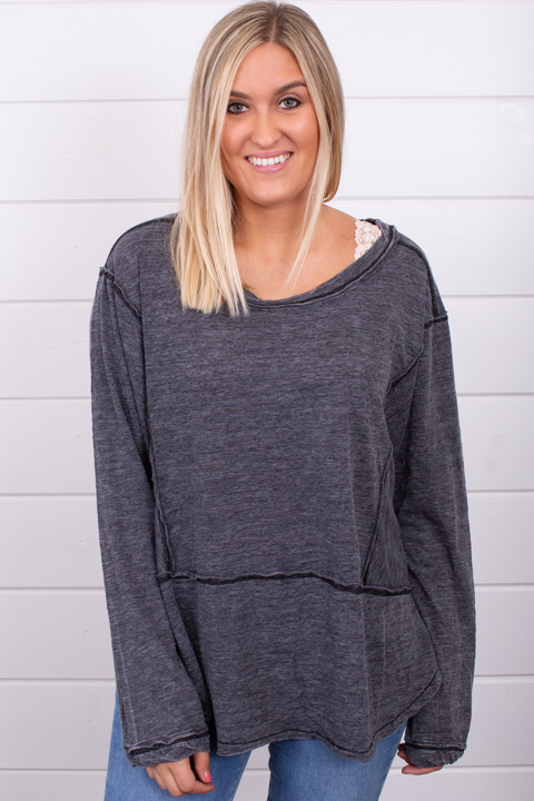 Z Supply The Airy Slub Long Sleeve Top Black