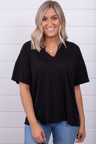 Z Supply The Airy Slub Slouchy Tee Black