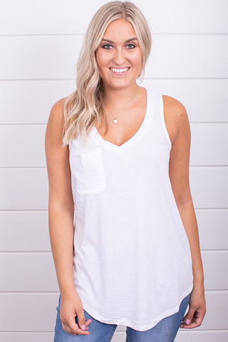 Z Supply The Pocket Racer Tank White