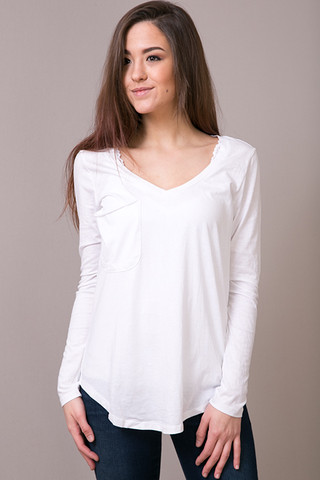 Z Supply The Long Sleeve Pocket Tee White