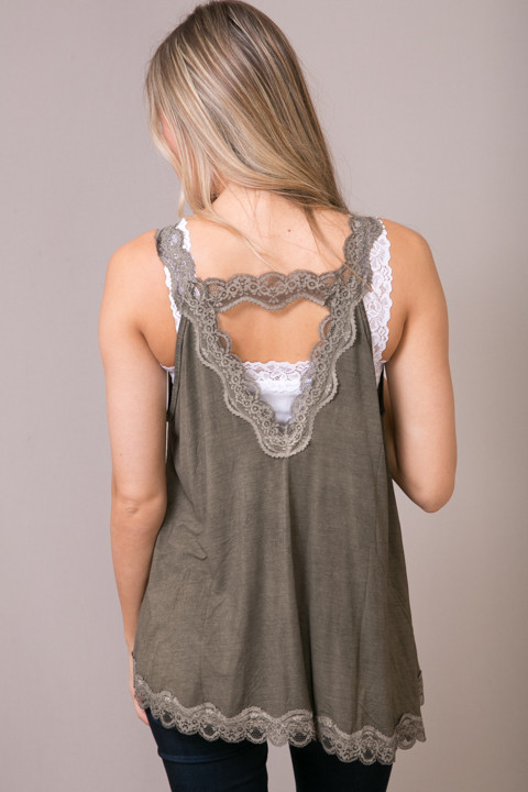 POL Olive Brown Lace Detailed Flowy Cami 3