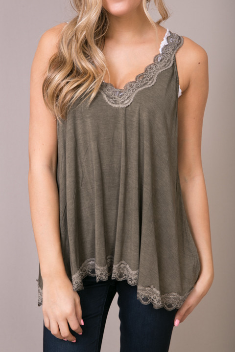 POL Olive Brown Lace Detailed Flowy Cami 2
