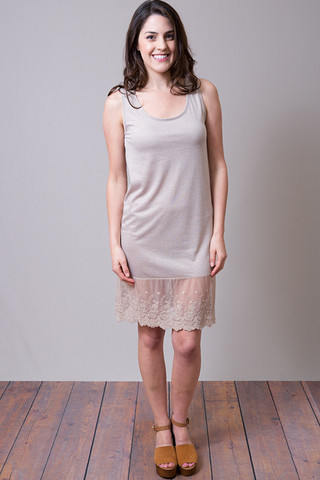 O2 Collection Mocha Tank Scalloped Dress Slip