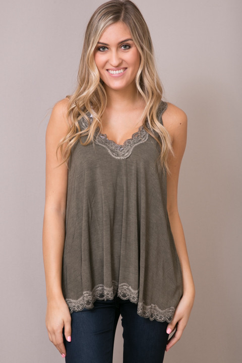 POL Olive Brown Lace Detailed Flowy Cami