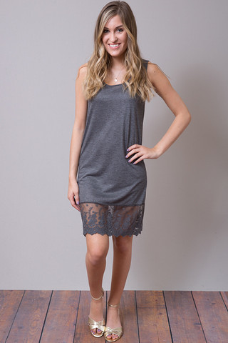 Charcoal Tank Scalloped Dress Slip