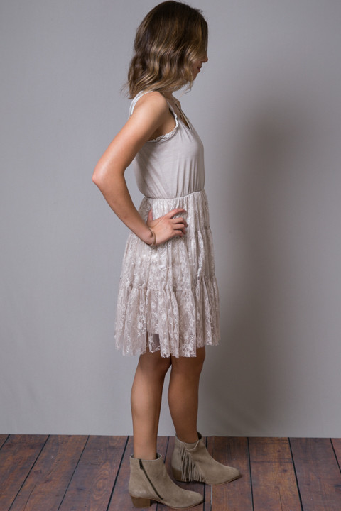 O2 Collection Mocha Lace Tulle Dress 3
