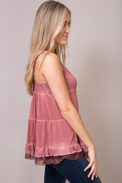 POL Red Brick Lace Trim Tunic Cami 4