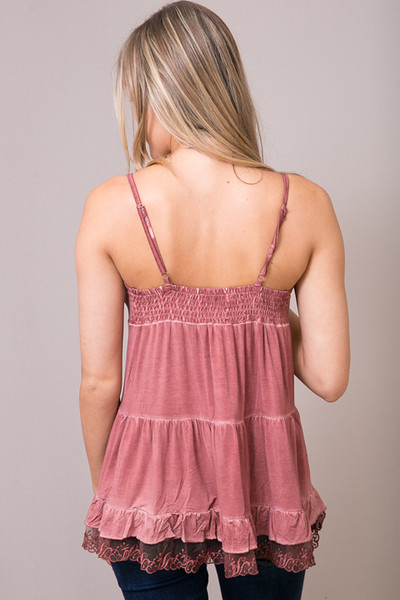 POL Red Brick Lace Trim Tunic Cami 2