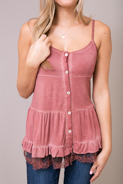 POL Red Brick Lace Trim Tunic Cami 3