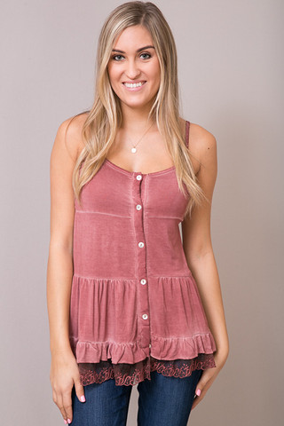 Red Brick Lace Trim Tunic Cami