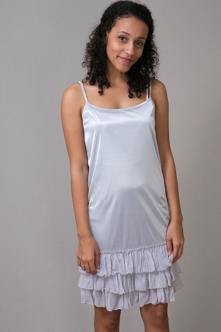 O2 Collection Silver Tissue Ruffle Slip
