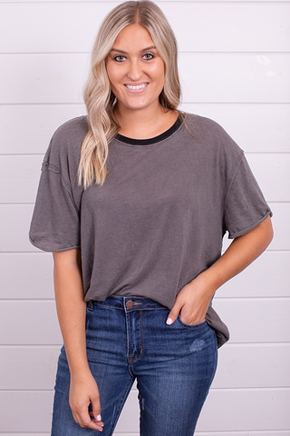 Free People Clarity Ringer Tee Charcoal