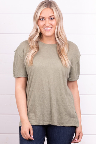 Free People Clarity Ringer Tee Rust Sage