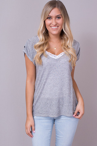 Knot Sisters Plunge Tee Grey