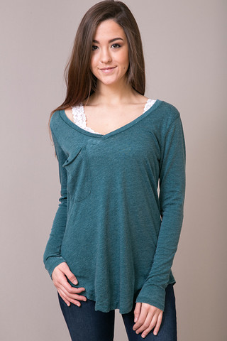 Z Supply The Long Sleeve Pocket Tee Dark Turquoise